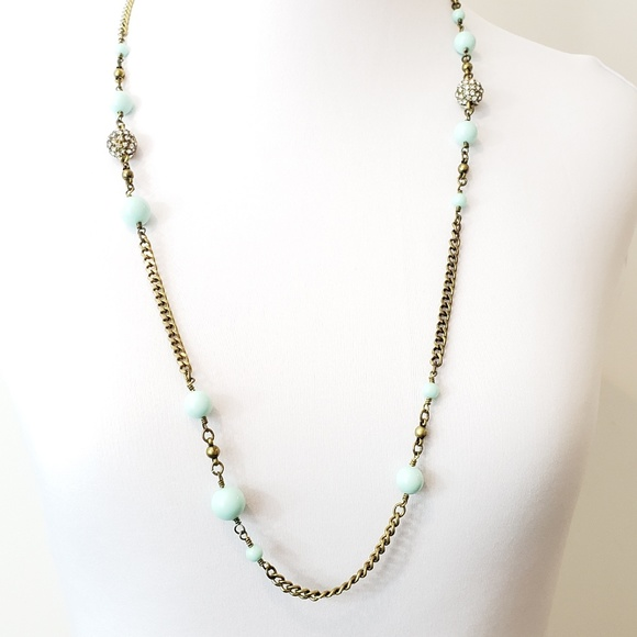 J. Crew Jewelry - J. Crew Sweater Necklace Pale Turquoise + Pave